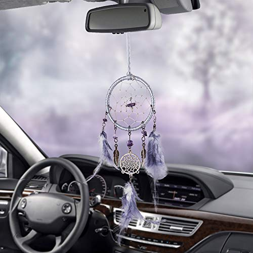 Mini Handmade Dream Catchers Wall Hanging Feathers Ornament Car Interior Rearview Mirror Pendant Charm Home Accessories Boho Chic Hanging Decor (Light Blue)