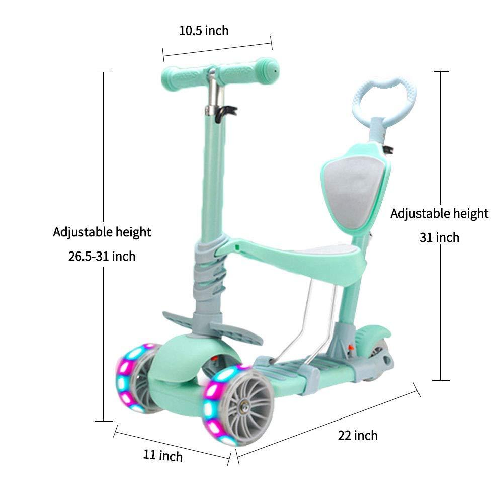 Scooter Ajustable para ni/ños peque/ños de 1 a 6 a/ños de Edad Ni/ños y ni/ñas apoyan 50 kg. Baob/ë 5 en 1 ni/ños Kick Scooter Verde