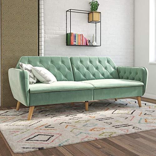 Novogratz Tallulah Memory Foam Sofa Bed, Light Green Velvet Futon,