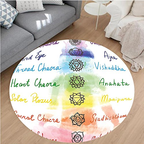Nalahome Modern Flannel Microfiber Non-Slip Machine Washable Round Area Rug-cor Brushstroke Inspired Lotus Pose Chakra Spots in the Body Faith and Harmony Icon Multi area rugs Home Decor-Round 71'' by Nalahome