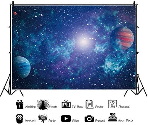 CSFOTO 7x5ft Universe Backdrop Earth Planets Nebula Cosmic Galaxy Background for Photography Space Themed Birthday Party Decor Banner Kids Adults Portrait Photo Shoot Wallpaper