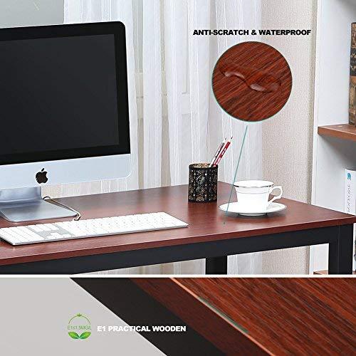 Computer Desk 47'' Mordern Sturdy Office Desk Study Writing Desk for Home Office, Coleshome, Teak by Coleshome (Image #6)