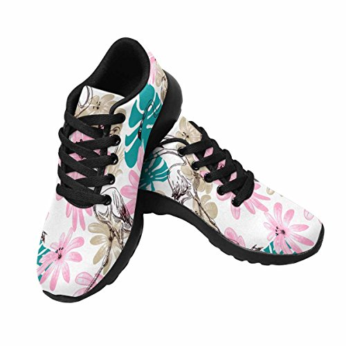 InterestPrint Flamingo and Flowers Womens Jogging Running Sneaker Lightweight Go Easy Walking Shoes Multi 1 25CXy