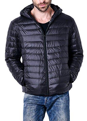 Herren Daunenjacke Winter Kälteschutz Sweatjacke Daunen männer Jacke Outdoor Reißvrschluss Schwarz L