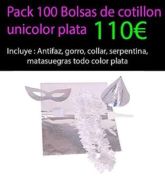Pack 100 bolsas de cotillon plata unicolor metalizadas ...