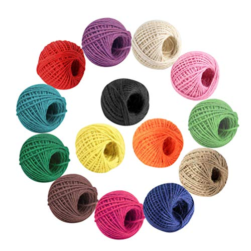 Colored Jute Twine 14 Roll Colorful Natural Jute String - 2 mm 3 Ply for Artworks, DIY Crafts, and Gift Wrapping Twine, Bottles Decorations, Picture Display and Embellishments 378 Yards in Total