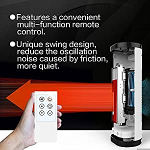 Ceramic Tower Heater, Electric Space Heater Fan 1500W with Digital Thermostat, Remote Control, 24-hour Programmable Timer, Portable Safe Heater for Indoor Use, by Pelonis