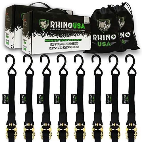 (RHINO USA Ratchet Straps Tie Down Kit - 1,823lb Guaranteed Max Break Strength, Includes (8) Premium 1
