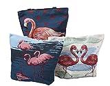 Pulama Ecofriendly Flamingo in Love Beach Totes Canvas Bag Top with Zipper Closure