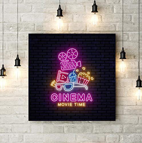 Cartel de neón brillante Cartel Cine Arte de la pared ...
