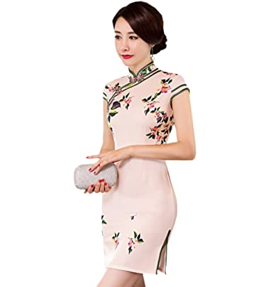bad763fec ACVIP Women's Flower Printed Chinese Dress Evening Party Short Cheongsam  Qipao (UK 6 / Tag