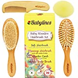 Image of BabyLinos 4 Piece Wooden Baby Hair Brush Set with comb and Ultra Soft Silicone Scalp Shampoo Brush for Newborns and Toddlers, Natural Soft Goat Bristles for Cradle Cap, Perfect for Baby Registry