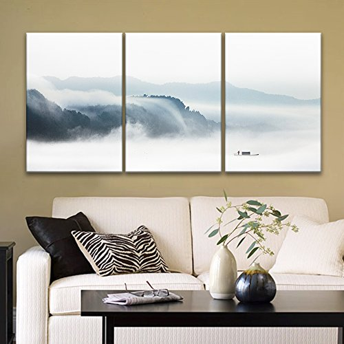 3 Panel Fisherman in The Boat on The Misty River x 3 Panels