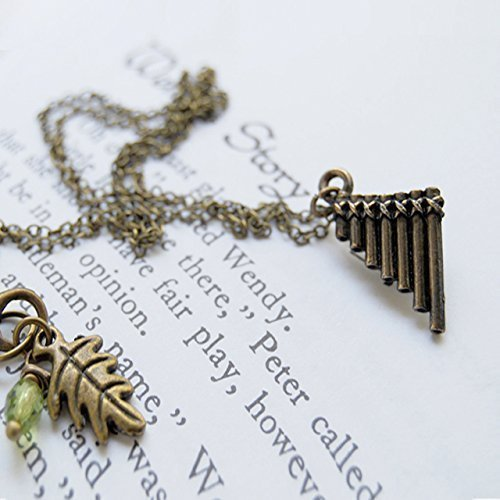 Enchanted Leaves - Peter Pan Flute Pipes Necklace - Cute Peter Pan Charm Necklace ()