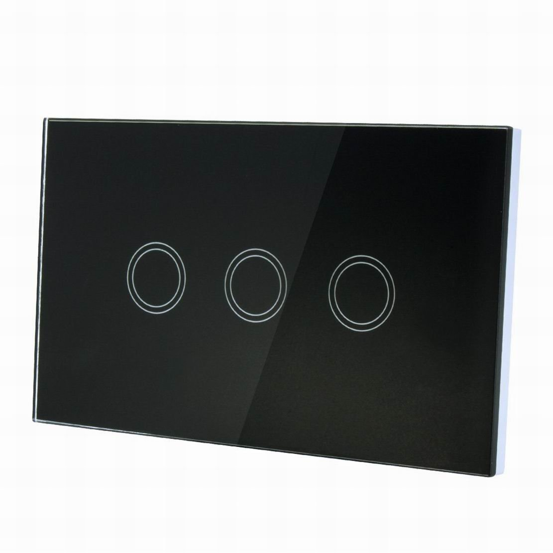 Uptell Touch Wall Light Switch, Luxury Crystal Glass Panel, AC 110-240V 1 Way 3 Gang Smart Touch Switch Black US