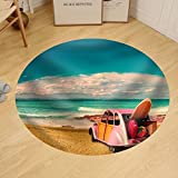 Gzhihine Custom round floor mat Vintage Sunny Day and Holidays Car in Formentera Beach Spain