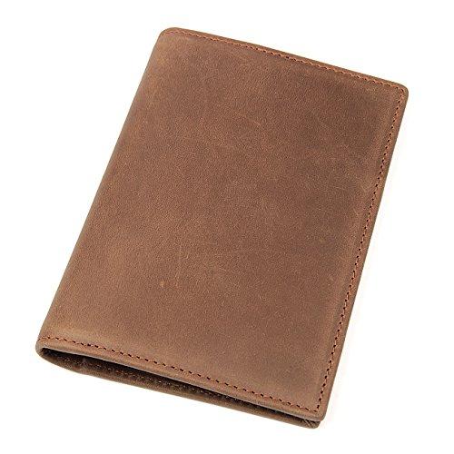 6f6a62982804 Polare Men s Slim RFID Blocking Leather Passport Holder Travel Bifold Wallet  (Light Brown) by