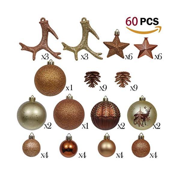 Valery Madelyn Palle di Natale 60 Pezzi di Palline di Natale, 3-5 cm di Rame del Bosco e Oro Infrangibile Ornamenti di Palla di Natale Decorazione per la Decorazione Dell'Albero di Natale 2 spesavip