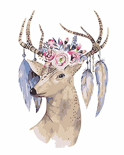 Diamond Painting - Full Drill Rhinestone Embroidery Arts Craft,Romantic Canvas Wall Decor Mysterious Christmas, Flower Head Deer (11x13.8inch) by Golden Panno