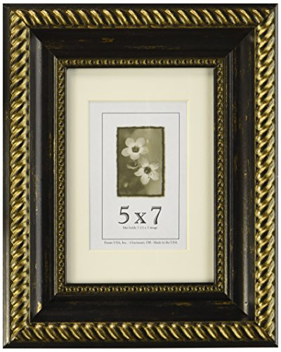 5x7 Antique Wood Picture Frame (Black & Gold) (Natural Pictures Gold)