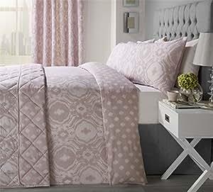intrincados paisley-style Blush Rosa Mezcla de Algodón Tamaño King Funda de edredón y cortinas plisadas