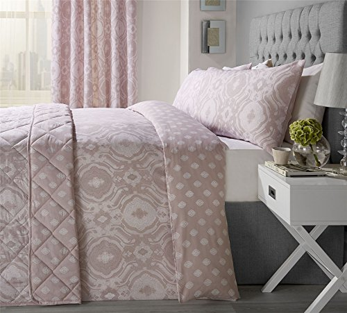 INTRICATE PAISLEY-STYLE BLUSH PINK COTTON BLEND USA FULL (COMFORTER COVER 200 X 200 - UK DOUBLE) (PLAIN CREAM FITTED SHEET - 137 X 191CM + 25 - UK DOUBLE) 4 PIECE BEDDING SET