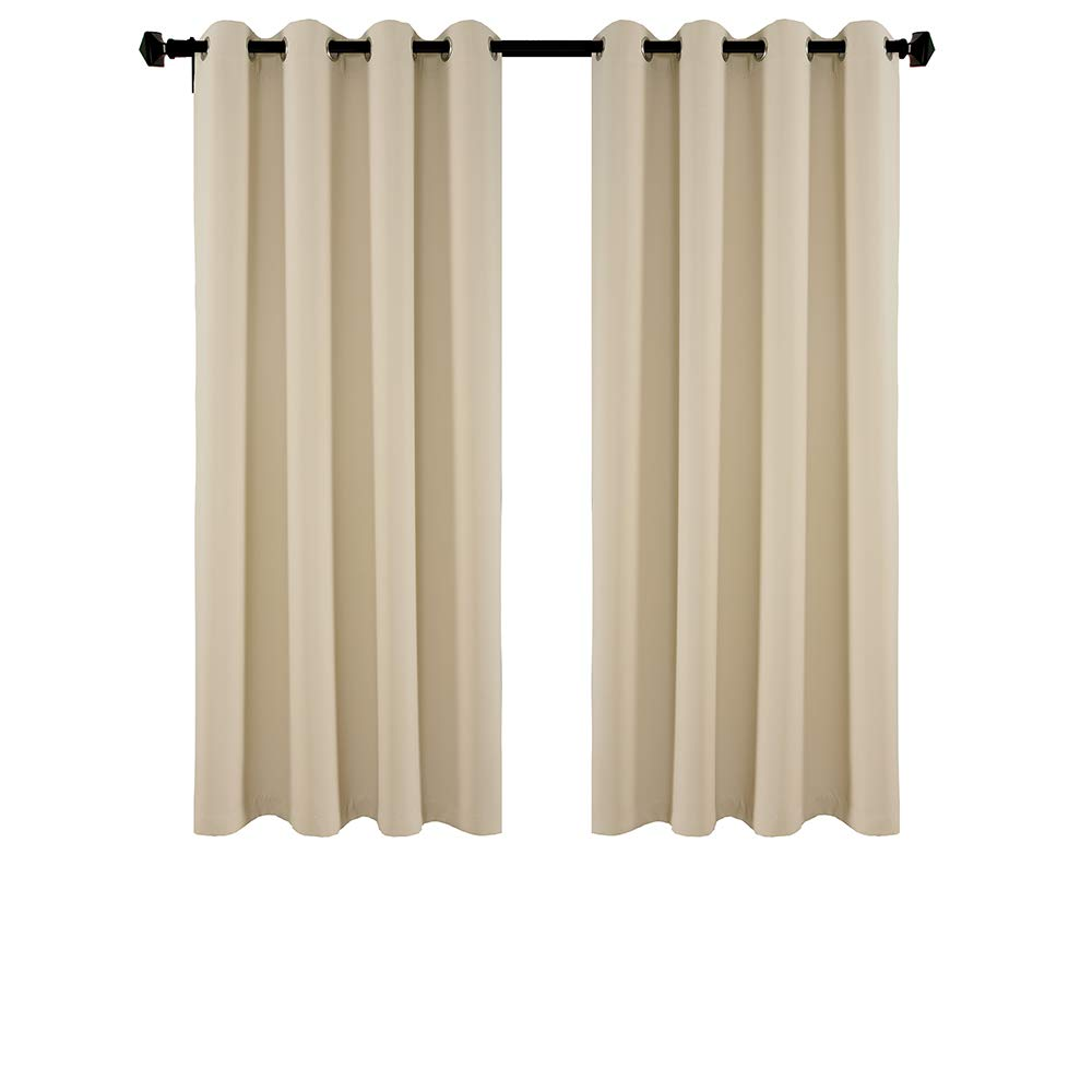 DOOYEE Thick Blackout Grommet Curtains Bedroom,Thermal Insulated Window Treatment Curtains,Patio Curtains,1Pair(2 Panels) 2 Tiebacks,52 inch 63 inch Beige