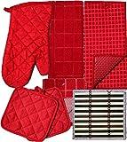 Kitchen Linens Bundle of 8 Items - Matching Kitchen Towel, Oven Mitt, Pot Holders,Dish Cloths, Dish Drying Mat and Bonus Bamboo Hot Pads (RED)