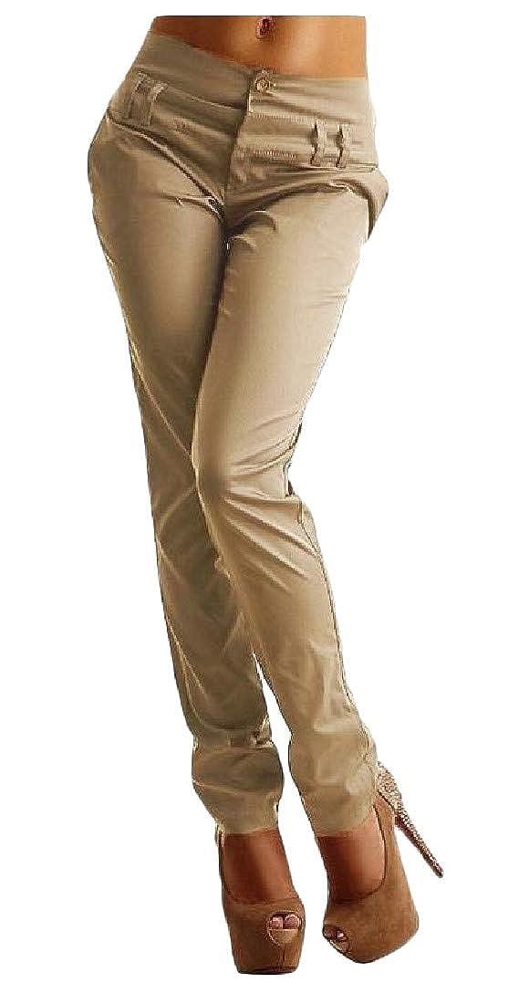 Macondoo Womens Juniors Trousers Harem Pencil Zip Solid Pants