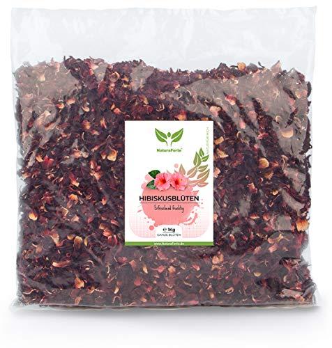 NaturaForte 1000g Flores de Hibisco - Calidad Premium Flores enteras secadas al aire para te de hibisco Sin colorantes, sabores o aditivos artificiales ni azufre