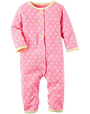 Girl Neon Pink Snap-Up Footless Sleep & Play, 3 Months