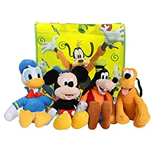 Disney 11″ Plush Mickey Mouse, Donald Duck, Goofy & Pluto 4-Pack in Gift Bag