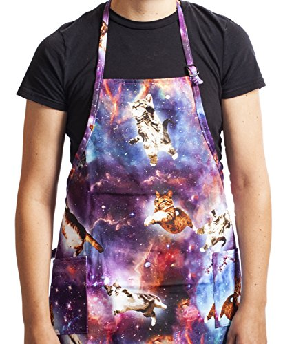 Funny Guy Mugs Space Cat Adjustable Apron with Pockets - Funny Apron for Men and Women - Perfect for Kitchen BBQ Grilling Barbecue Cooking Baking Crafting Gardening