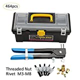 Samber 464PCS Threaded Nut Rivet M3-M8 Insert Tool Riveter Rivnut Nutsert Riveting Kit