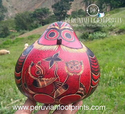 Peruvian Carved Gourd Calabash piggy bowl Red Owl Peruvian Folk Art Hand carved amazing ()