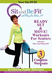 "These Sit and Be Fit workouts feature Mary Ann Wilson, RN, from the popular public television series. These complete workouts include ""Stretching"", Healty Aging"" and ""We've Gone Country"" - all created to get anyone moving. ary Ann leads viewe..."
