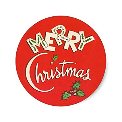 Christmas Stickers.Amazon Com Vintage Merry Christmas Stickers Round Envelope
