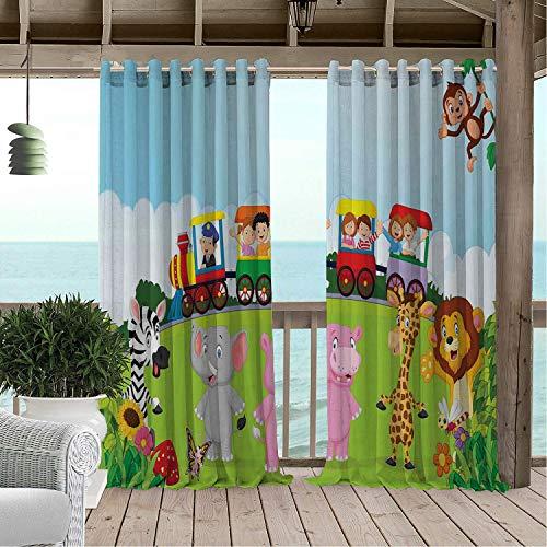 - Linhomedecor Gazebo Waterproof Curtains Cartoon Kids Nursery Design Happy Children on a Choo Choo Train Safari Animals Artwork Multicolor Porch Grommets Cabana Curtain 72 by 72 inch