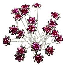 Shop Ginger Wedding Pack Of 6 Rose Crystal Rhinestones Flower Hair Pins Bridal Veil