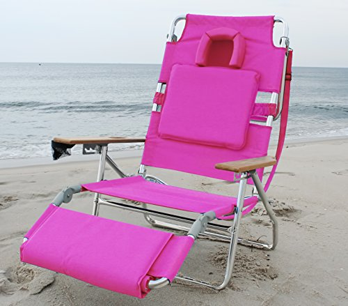 Ostrich Deluxe Padded Sport 3-in-1 Aluminum Beach Chair, Pink - Deluxe Beach Chair