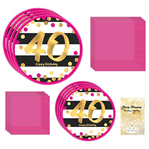 40th Birthday Party Supply Pack, Pink and Gold Design, Bundle of 4 Items: Dinner Plates, Dessert Plates, Lunch Napkins and Beverage -