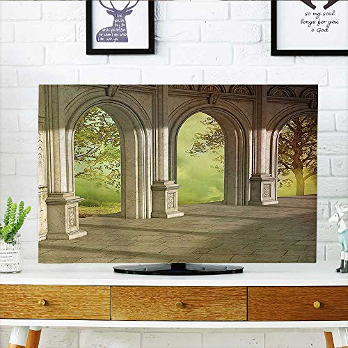Auraisehome Cord Cover for Wall Mounted tv Fantasy Landscape with Forest Outside and Corridor Spring Garden Fairy Illustration Cover Mounted tv W32 x H51 INCH/TV 55