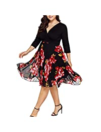 ASTV Women Plus Size Chiffon Floral Long Sleeve Dresses V Neck Wrap Prom Dress