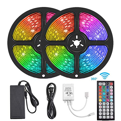 Flykul LED Strip Lights, 32.8ft/10m SMD 5050 RGB 300 LEDs IP65 Waterproof Tape Light Light Strip with 44-Key RF Remote Controller Double Sided Adhesive for Home Kitchen Room