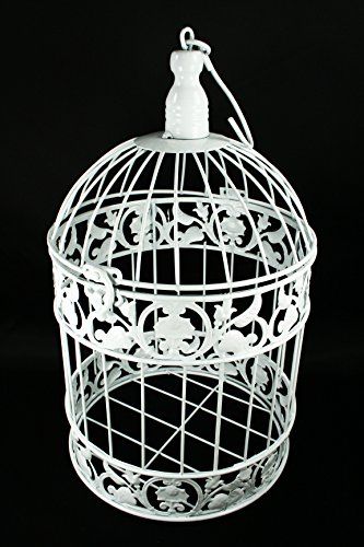 Decorative White Metal Bird Cage Wedding or Home Table Decor Choose Size (7.5
