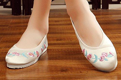Embroidery Shoes Peach AvaCostume Blossom Flat Dance Beige Single Womens twva0q0P