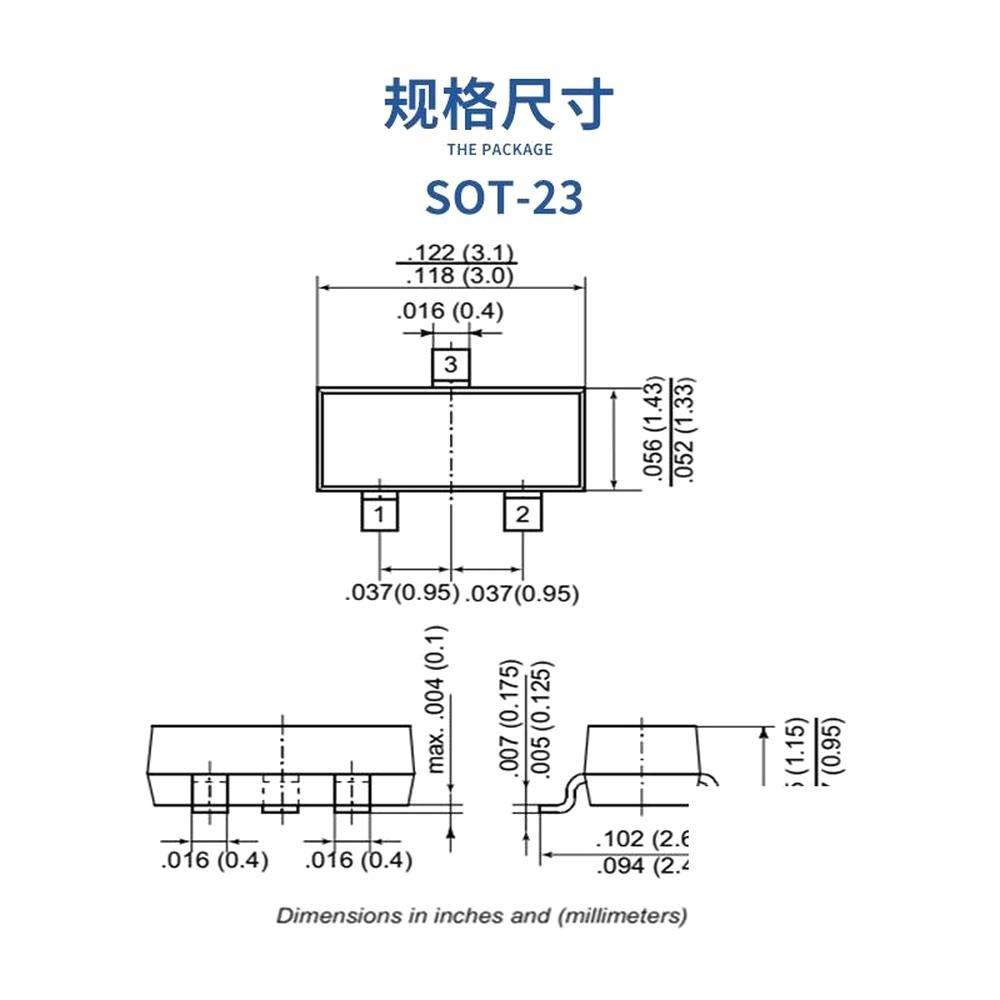10Pcs//lot AO3401 SOT-23 Current 3A A19T P Channel Mosfet