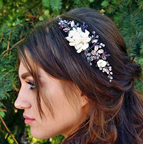 Purple floral Bridal hair comb Headpiece Blush pink