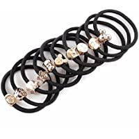 10PCS Women Elastic Hair Ties Band Ropes Ring Ponytail Holder Accessories Black