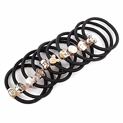 Amazon.com  10PCS Women Elastic Hair Ties Band Ropes Ring Ponytail Holder  Accessories Black  Home   Kitchen 7fa3fb83376